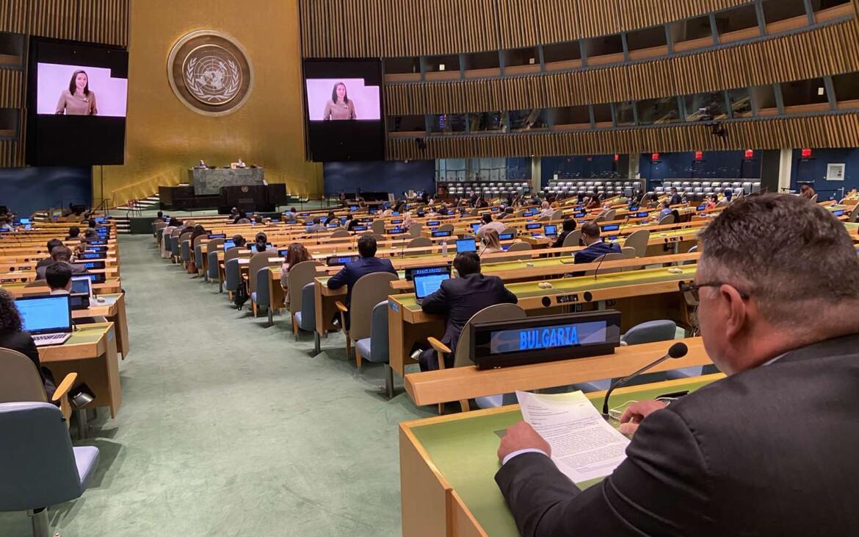 UNGA75_H.E.Georgi Panayotov_and_Ms.Bogomila Kormanova(on the screen)